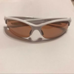 Oakley Commit White sunglasses with pink lens